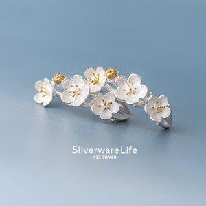 NEW 925 Sterling Silver Two Tone Flower Earrings